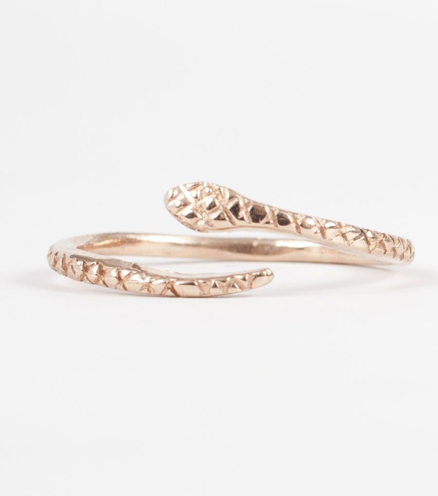 Snake Ring - Rose Gold with teensy diamond eyes.