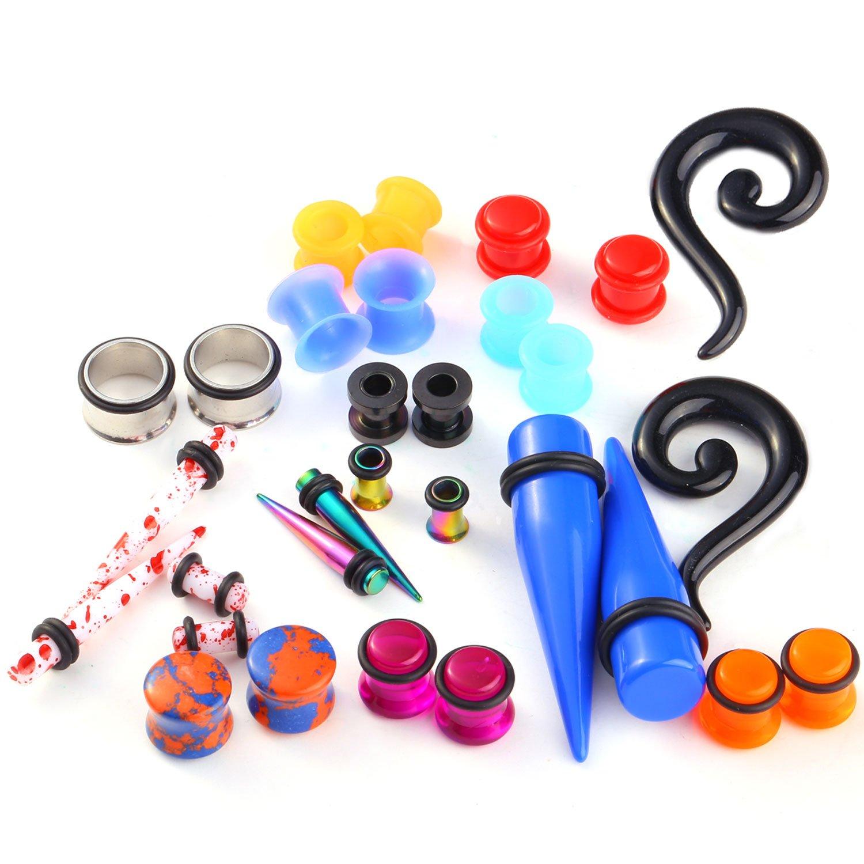 Nose piercing kit  PCS Taper Tunnel Plugs Randomly Assorted Ear Piercing Gauges Kit
