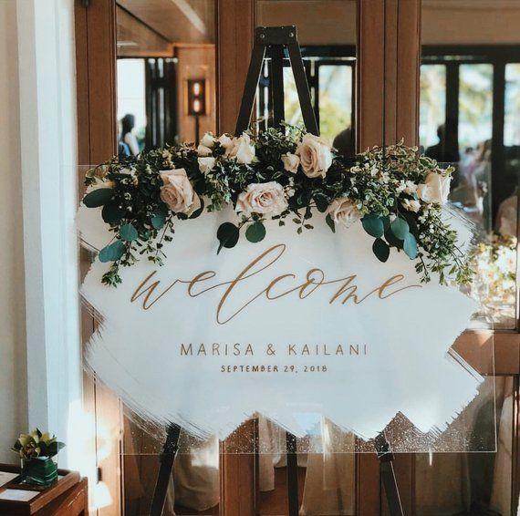 Welcome Acrylic Wedding Sign, Painted Acrylic Welcome Sign, Plexiglass Wedding Welcome Sign