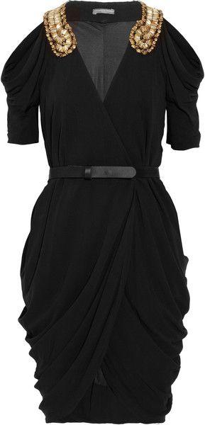 Alexander McQueen Embellished Draped Jersey Dress