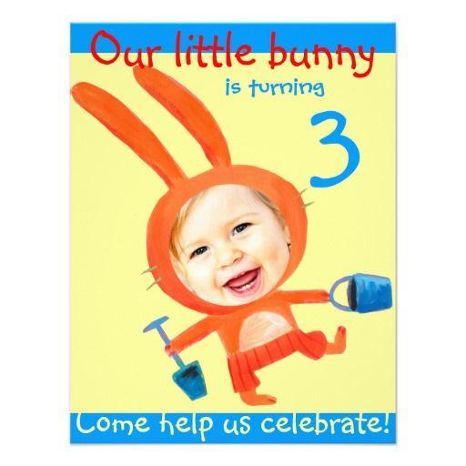 add your kids photo cute funny 3rd birthday bunny custom announcements