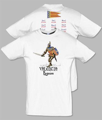Camiseta serie caballeros: Valentia Regnum. Diseñada por Escobar.