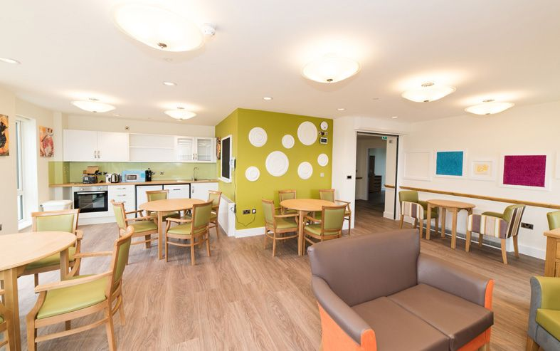 crave id. fairways dementia care home. lounge and dining room