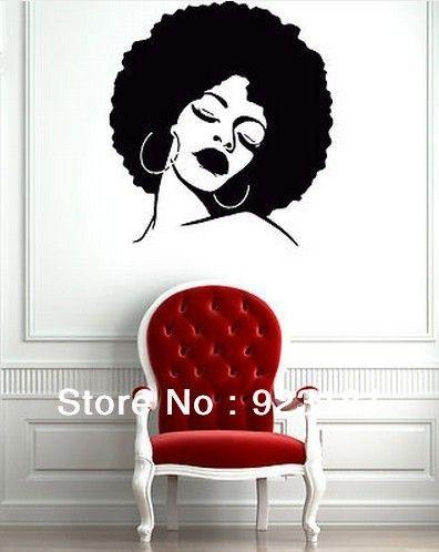 Free shipping black lady face hot sexy hair salon wall - Stickers deco salon ...