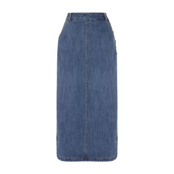 Warehouse Maxi Denim Skirt ($66) ❤ liked on Polyvore featuring ...