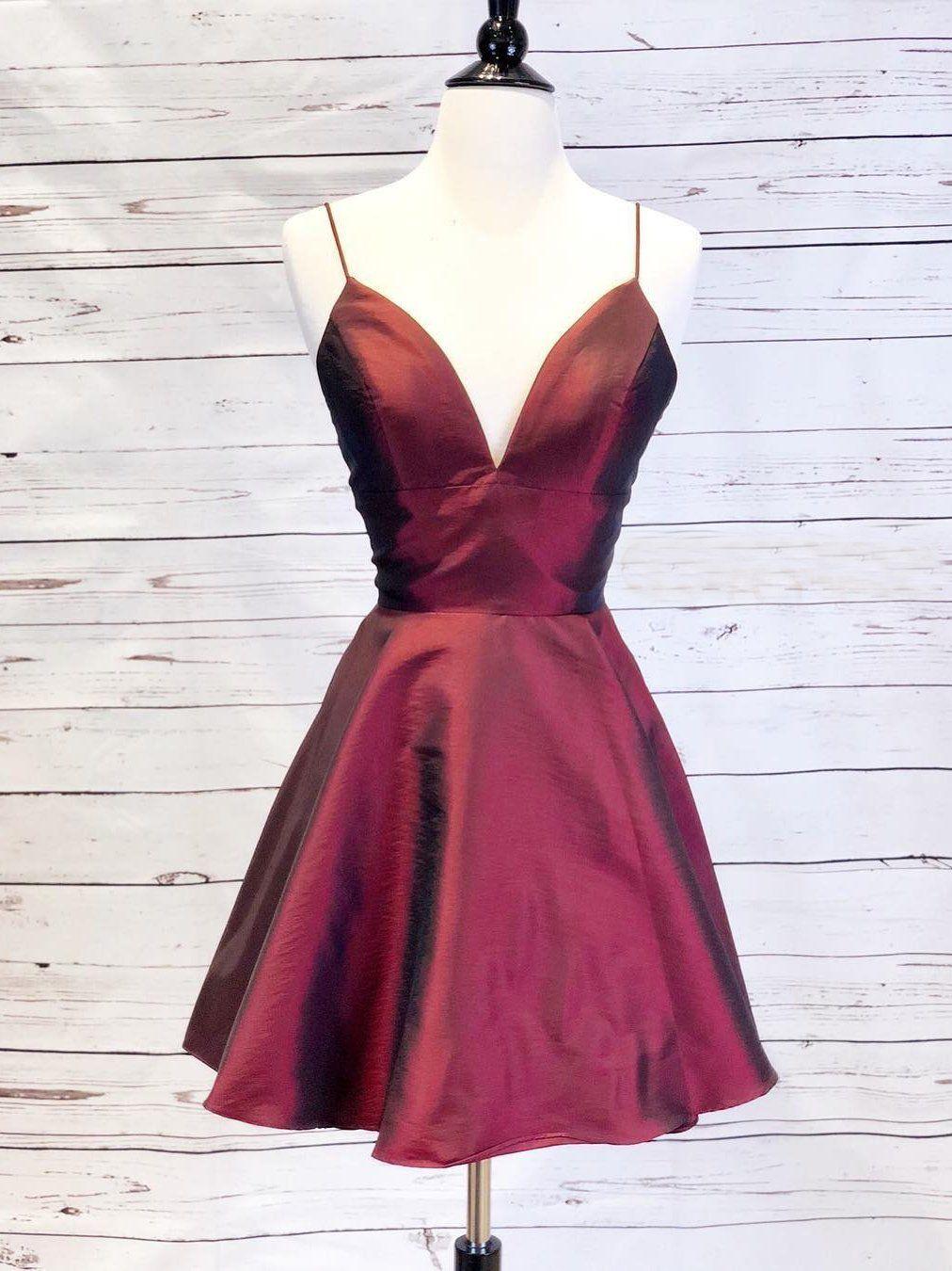Aline spaghetti straps shortmini prom dress simple burgundy