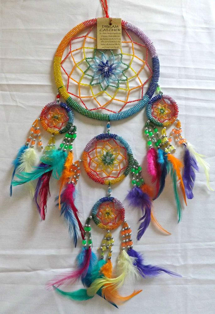 NATIVE AMERICAN DREAM CATCHER~17cm Dia~SPARKLE BEADS~STAR DESIGN~IDEAL GIFT