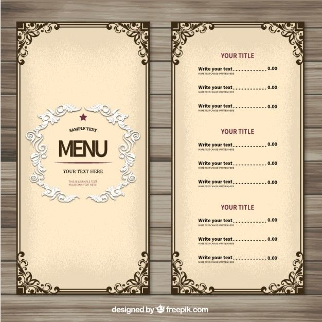 Molde do menu do Ornamental – Menu