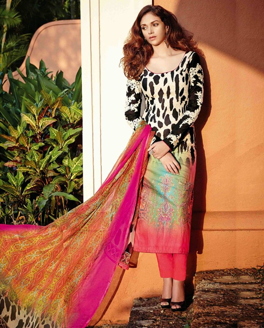 Multicolor long suit with embroidered sleeves multicolor lawn