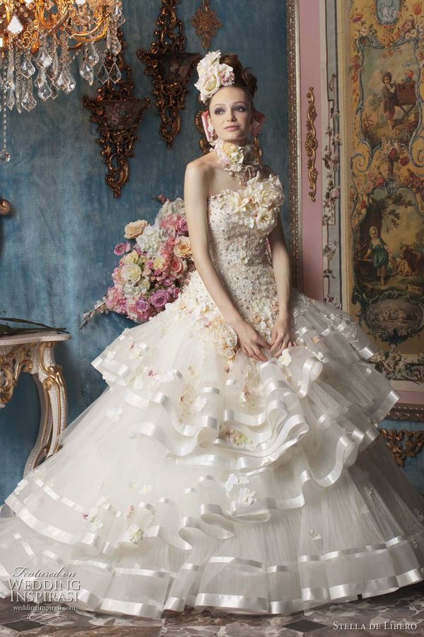 White wedding dress with satin edge tulle ruffle skirt 1bee348c9cde
