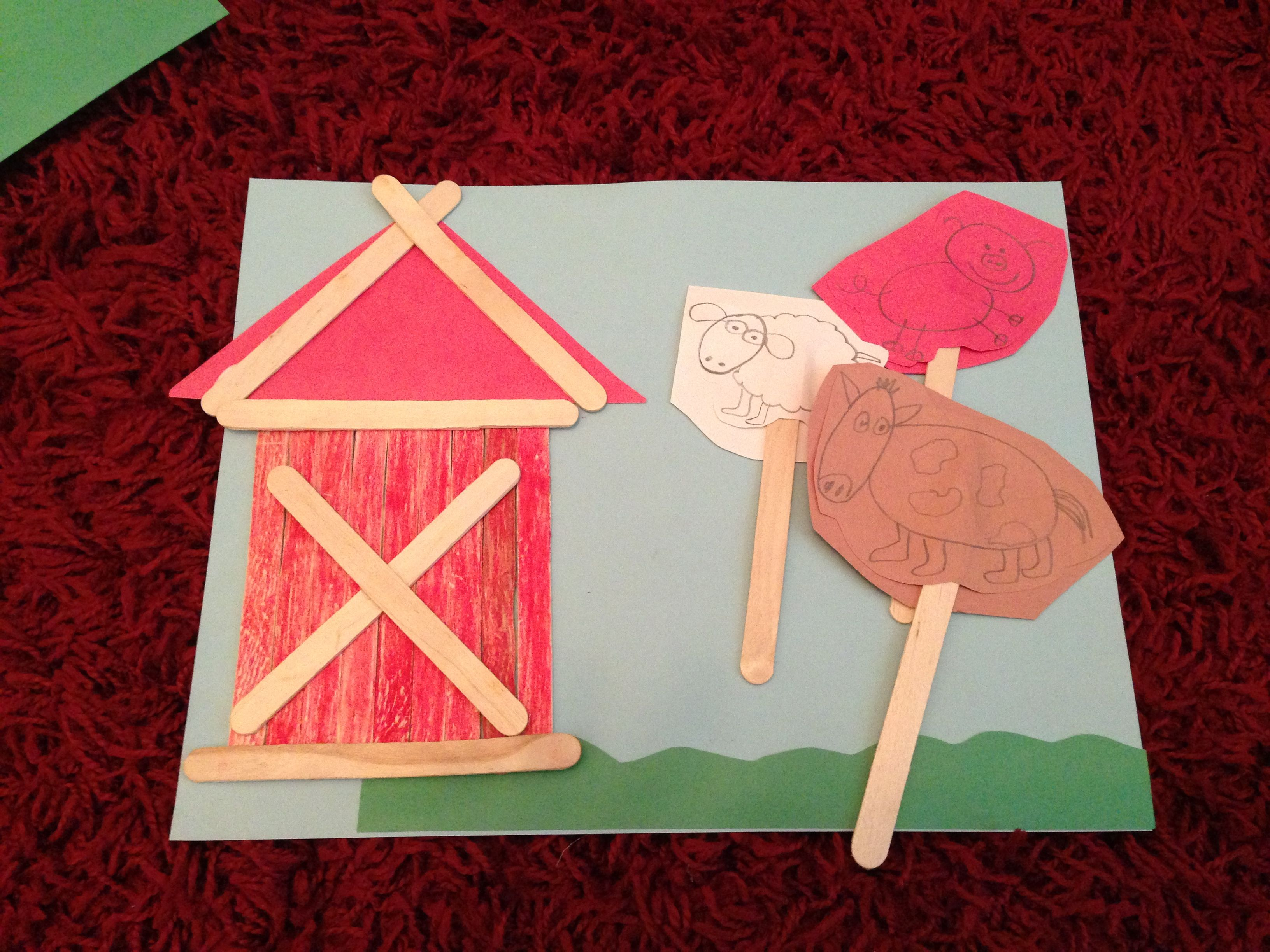 Animals crafts for preschoolers - Popsicle Stick Farm Animals Barn Simple For Kids Craft