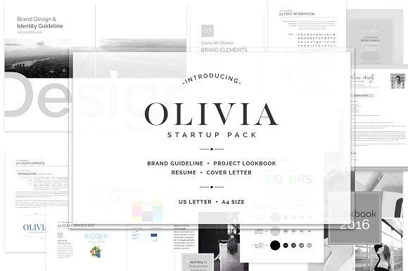 OLIVIA Branding Bundle Brand guidelines, Typography and Brochure - cover letter elements