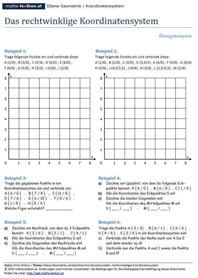 Das Rechtwinklige Koordinatensystem Koordinaten Arbeitsblatter Ubungsblatt