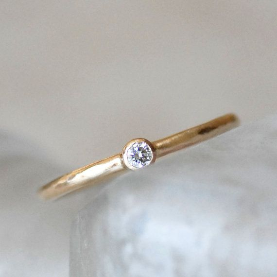 Tiny Diamond Engagement Ring Simple 14k Gold Wedding Solitaire