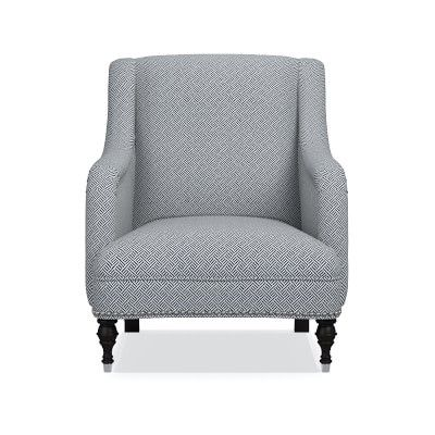 Simone Chair, Beach Club, Solid, Indigo, Polished Nickel