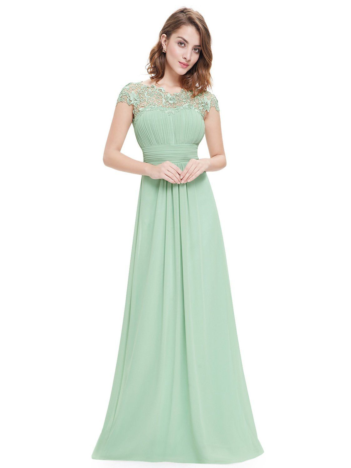 Women Lace Chiffon Formal Wedding Bridesmaid Long Evening Party Prom Gown Dress