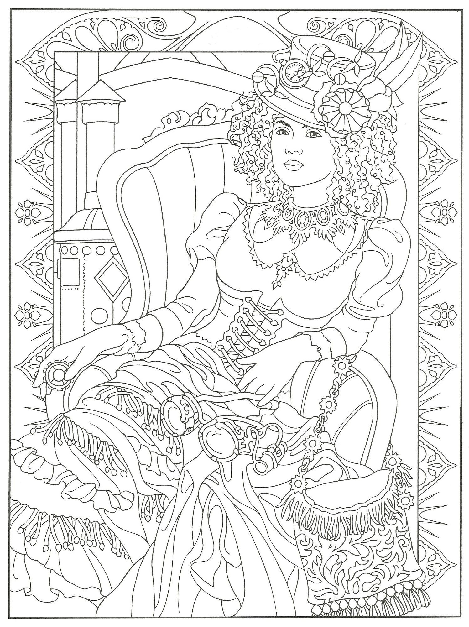 Steampunk Adult Coloring Artwork By Marty Noble Creative Haven Fashions Book Dover Publications