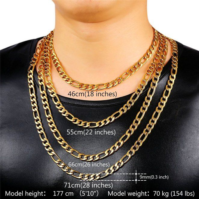 Pin On Men Necklace Punk Style Chain Stainless Steel 18k Gold Plated