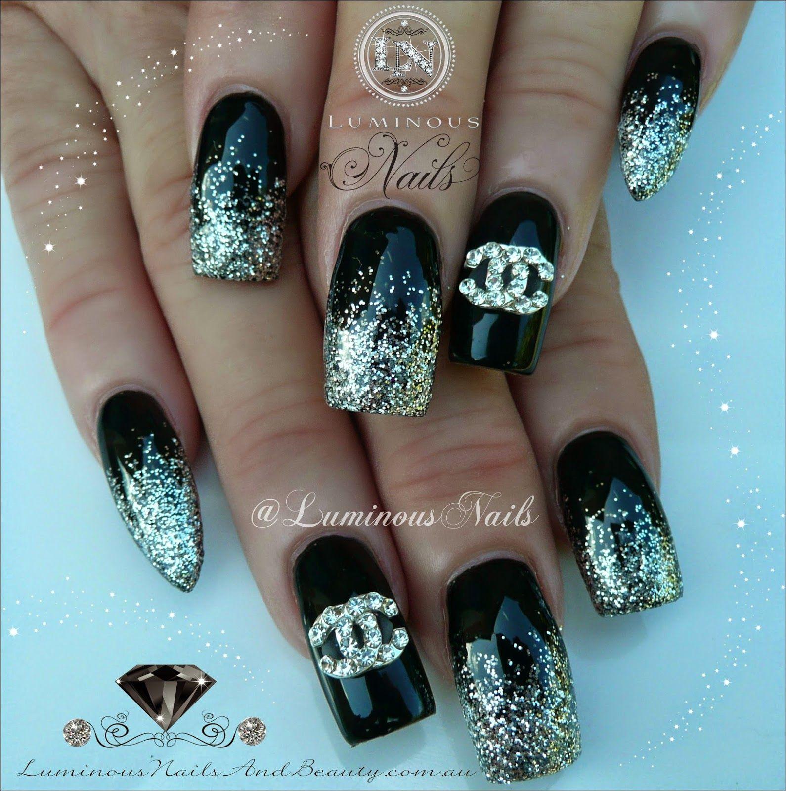 Luminous+Nails+&+Beauty,+Gold+Coast+QLD.+Black+&+Silver+Nails.+Nail+ ...