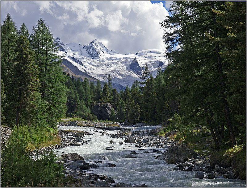 Alpen Bergbach Berge Bergwald Bergwetter Engadin Fohn Gletscher