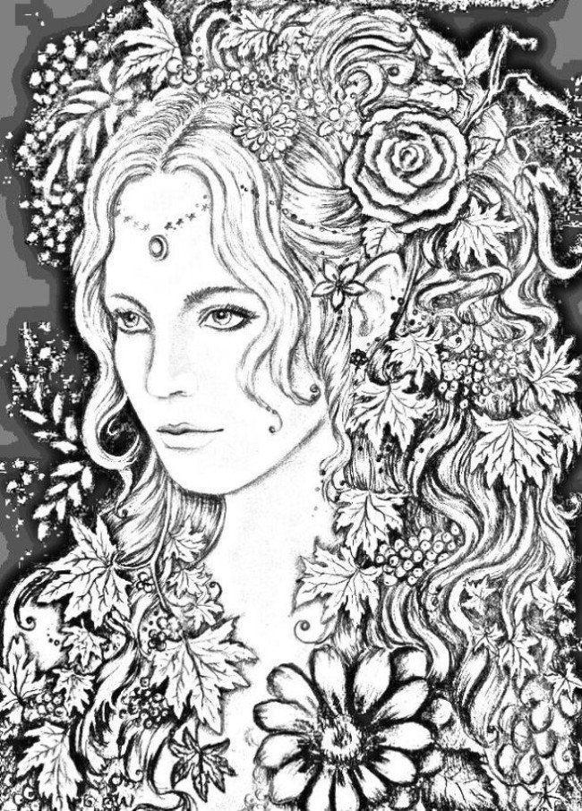 раскраски для взрослых девушки (77) | Книжка-раскраска ...