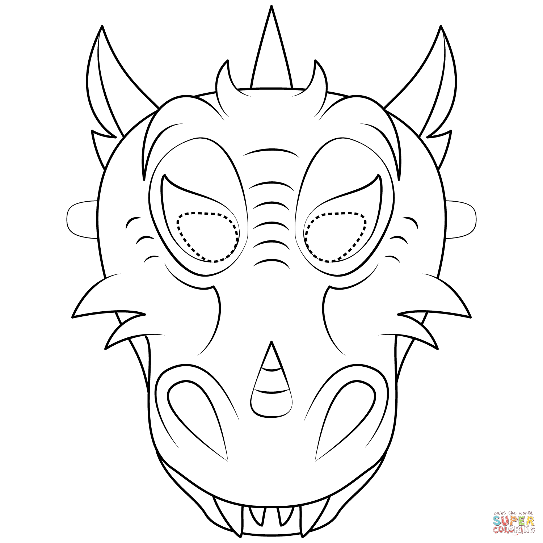 Dragon Mask Coloring Page Free Printable Coloring Pages Dragon Mask Printable Coloring Masks Dragon Coloring Page