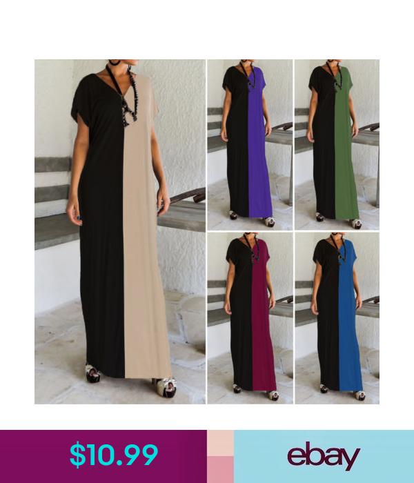Dresses Women Short Sleeve T Shirt Long Maxi Dress Backless Patchwork Full Length Dress Ebay Fashion
