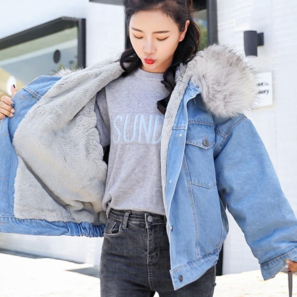 Glory Co Warm Padded Denim Rich Hodded Jacket For Women Denim Jacket Women Denim Coat Women Winter Jackets Women [ 950 x 950 Pixel ]