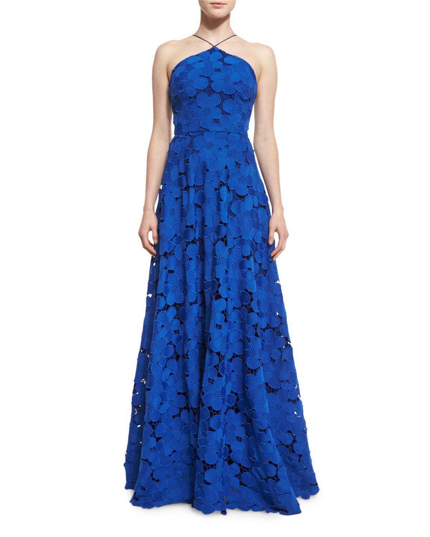 1e13ffec8216 Floral-Lace Sleeveless Halter Gown, Royal Blue, Women's, Size: 14 - Badgley  Mischka