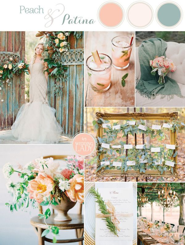 Peach And Patina Summer Wedding Palette June Colors Green