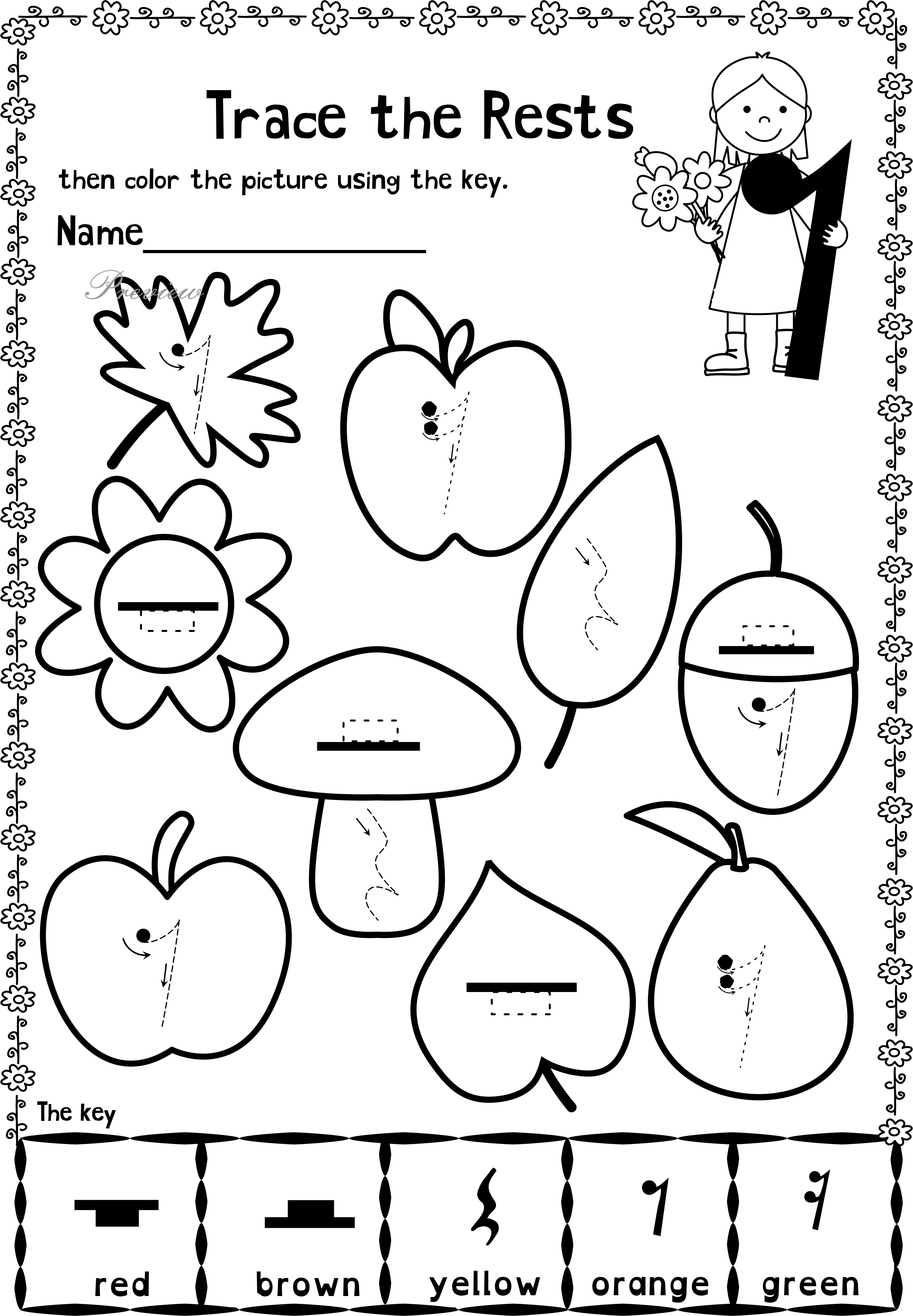 Fall Trace and Color Music Worksheets   Music lessons for kids [ 3359 x 2329 Pixel ]