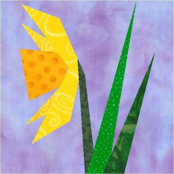 Daffodil Paper Pieced Block Free Pattern Paper Pieced