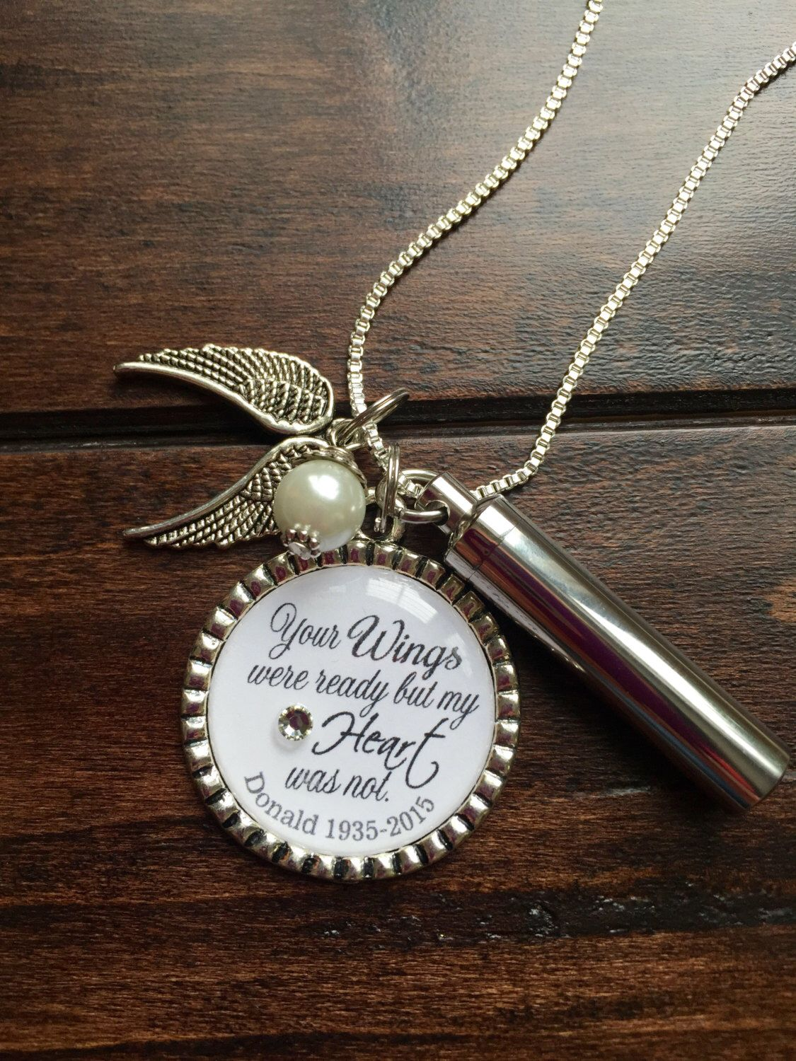 Personalized Cremation necklace, Your Wings were ready but ...