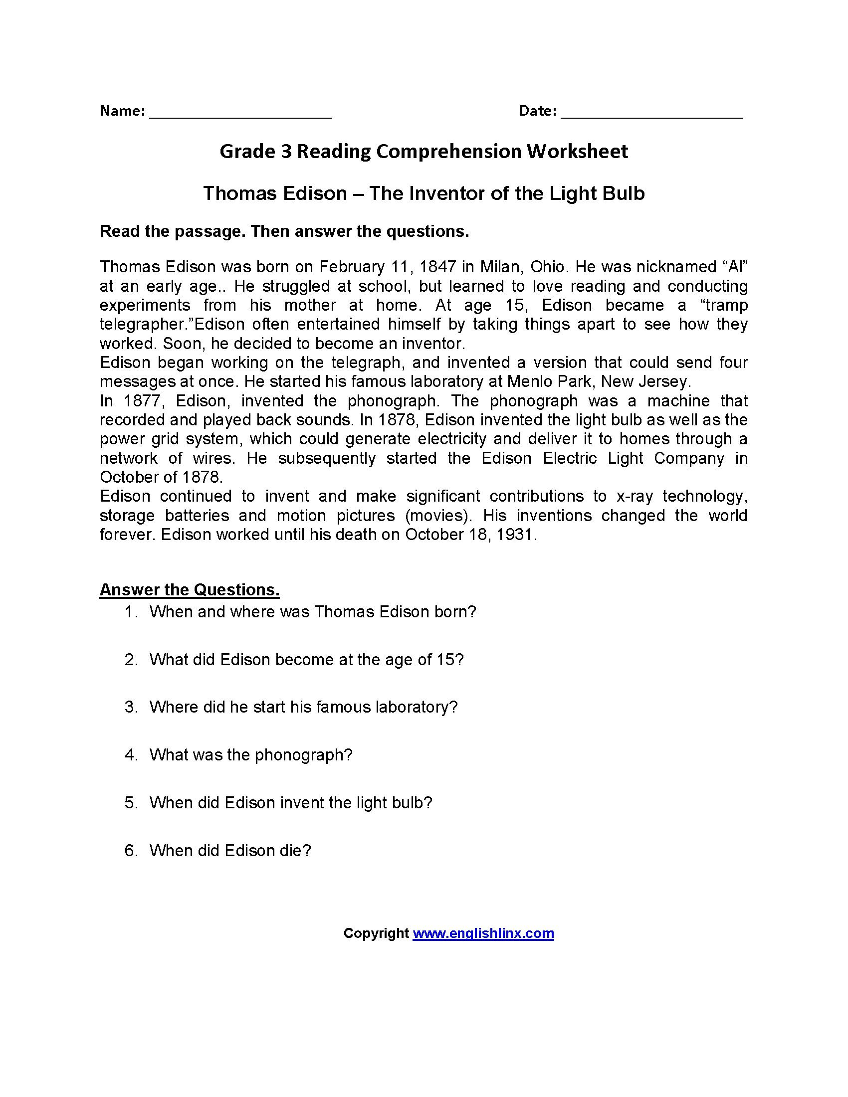 9 Periodic Free Printable Reading Comprehension Worksheets