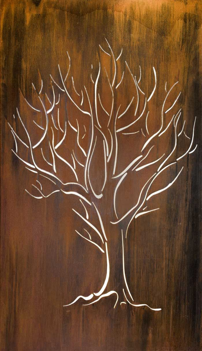 The simple beauty of  bare tree is captured in laser cut rusted metal attach to garden or courtyard wall and back light create art ambiance also silhouette panel backdrop wood rh pinterest