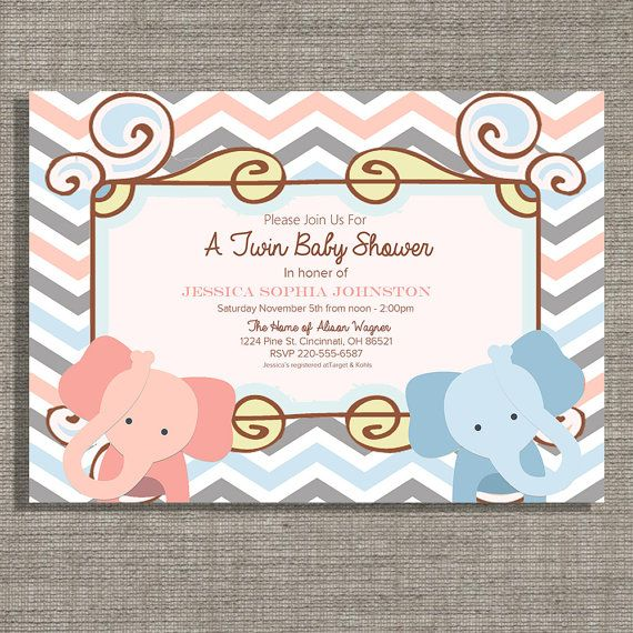 Custom Twin Baby Shower Invite.  Boys Girls or by AllyAnneDesigns