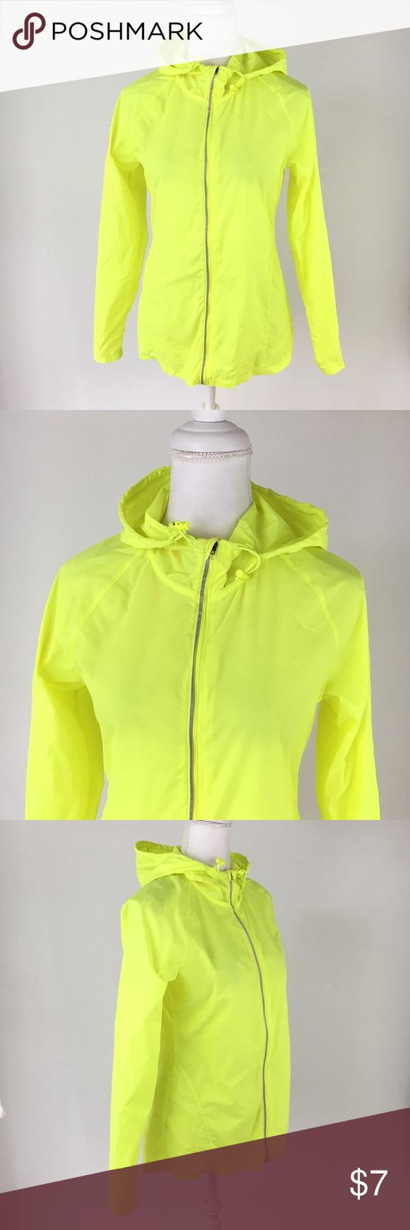 Champion C9 neon yellow windbreaker jacket hood S Yellow