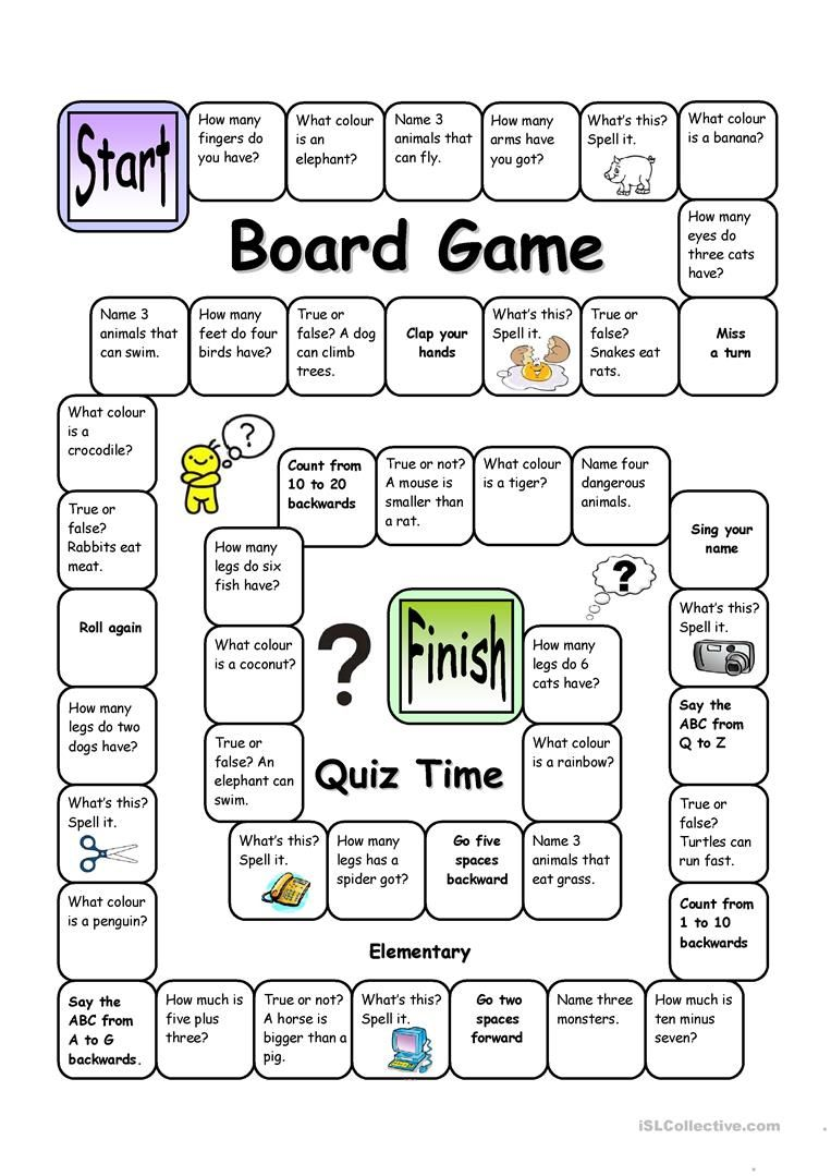 Board game quiz time easy english esl worksheets for