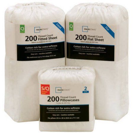 Mainstays 200-Thread-Count Bedding Sheet Collection, Open Stock, White