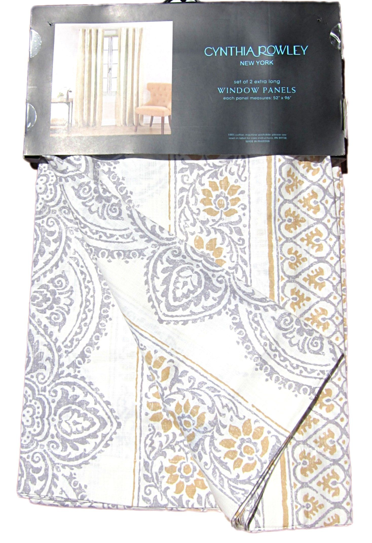 Amazon Com Cynthia Rowley Window Panels Set Of 2 Large Medallions Damask Paisley Scrolls Cotton Window Curtains Hidden T Window Panels Window Curtains Damask