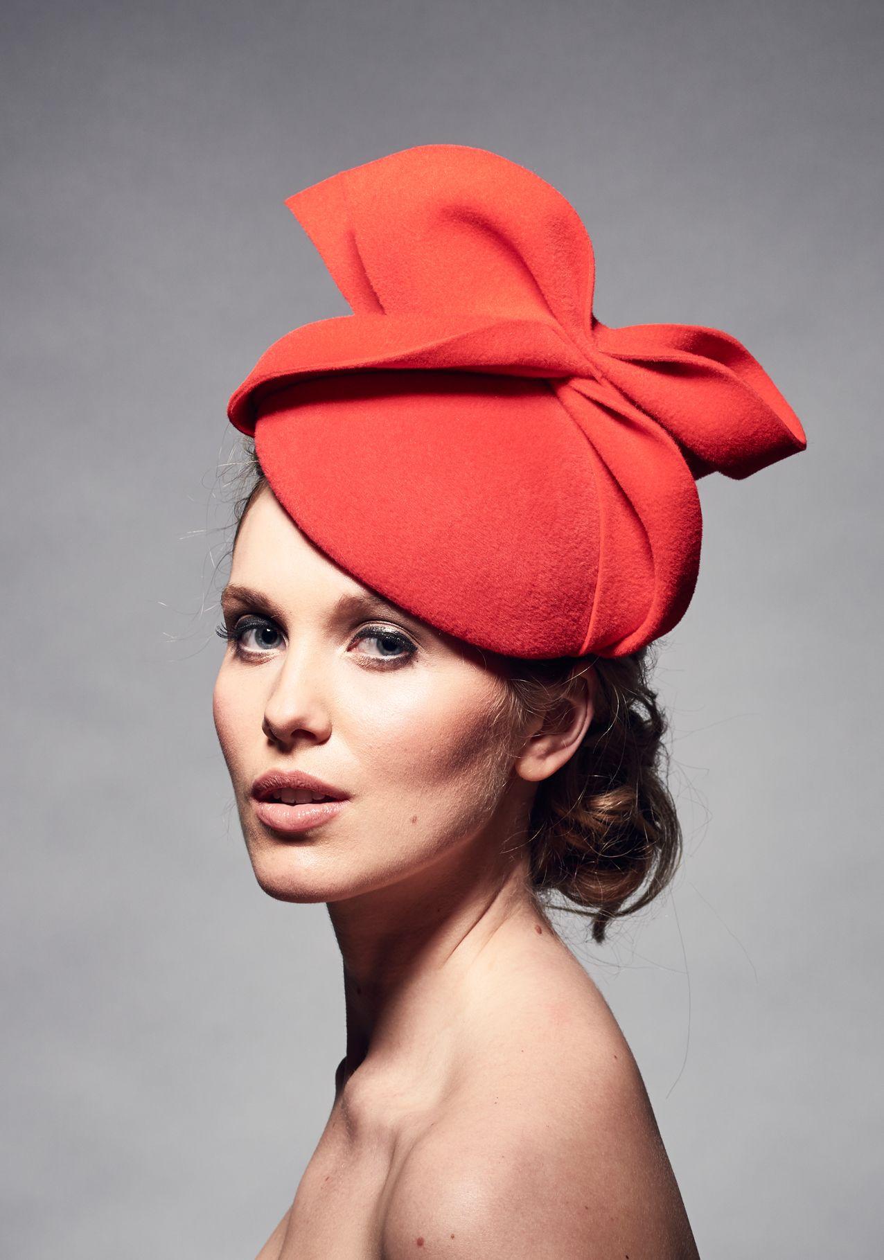 Womens Wedding Hats Red Felt Bow  abb5c06440a
