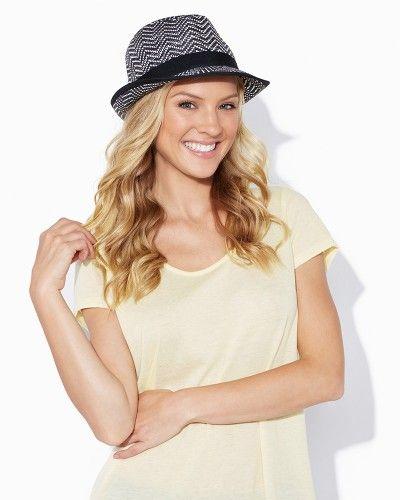 Chevron Straw Fedora | Hats - Accessories | charming charlie