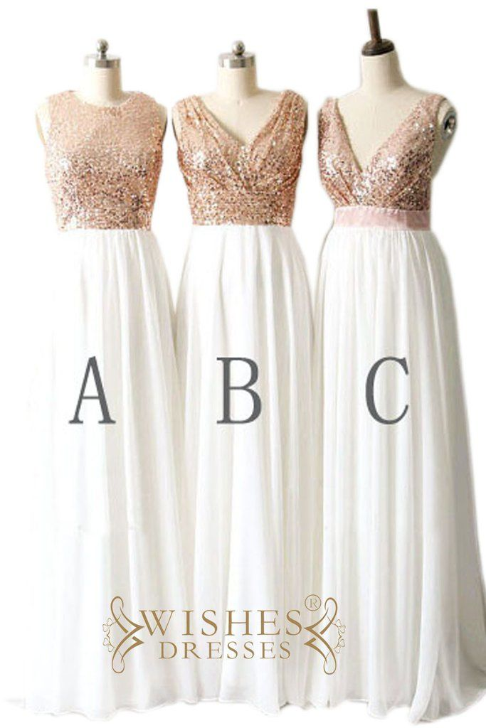 Rose Gold Sequins Top and Chiffon Bridesmaid Dress / Long Formal ...