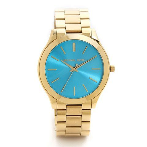 5aea40a780b4 This beautiful Michael Kors MK3265 womens analog quartz watch features a blue  dial and a gold stainless steel case and band.  Fashion  Watch