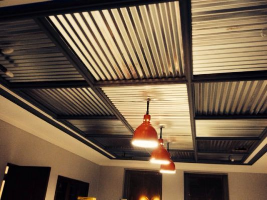 Restored Barn Lights With Corrugated Ceilings In 2019 Basement Ceiling Painted Corrugated Tin Ceiling Basement House