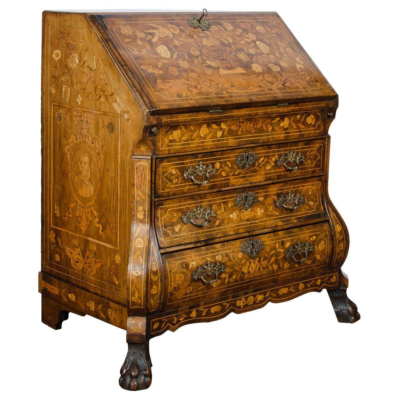 Century Walnut Dutch Marquetry Bureau at Patrick Moorhead Antiques  in  Brighton  United Kingdom. 18th Century Walnut Dutch Marquetry Bureau   furniture