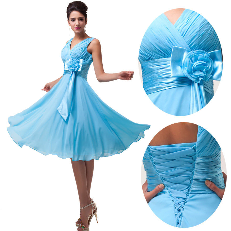 Short Chiffon Bridesmaid Formal Gown Ball Party Evening Prom Dress ...