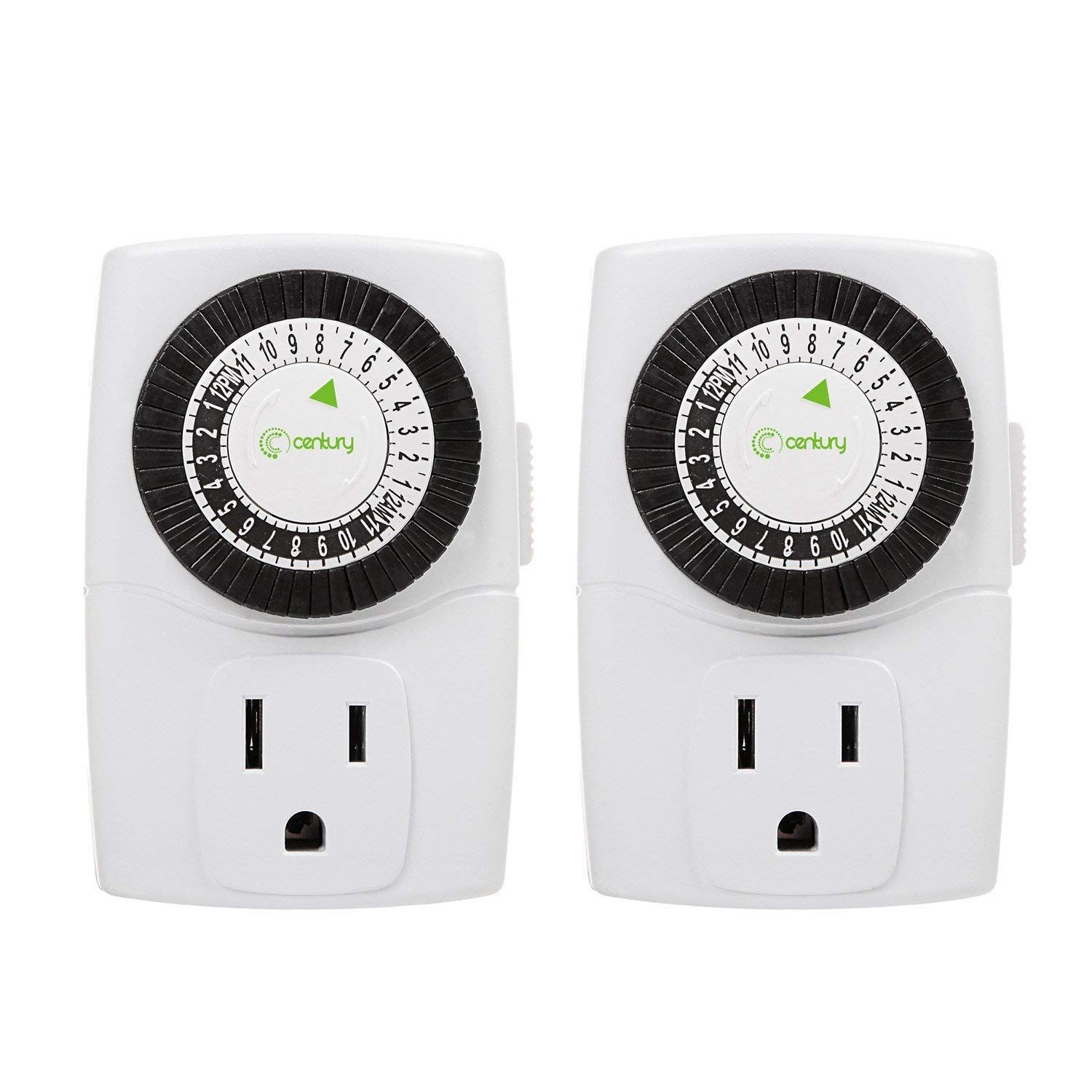 Century Indoor 24Hour Mechanical Outlet Timer, 3 Prong, 2