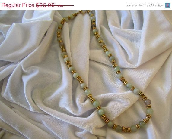 STORE WIDE MOTHER'S DAY SALE!  ON SALE Handmade Necklace Shades of Green and Light Plum Beads. Bead Necklace