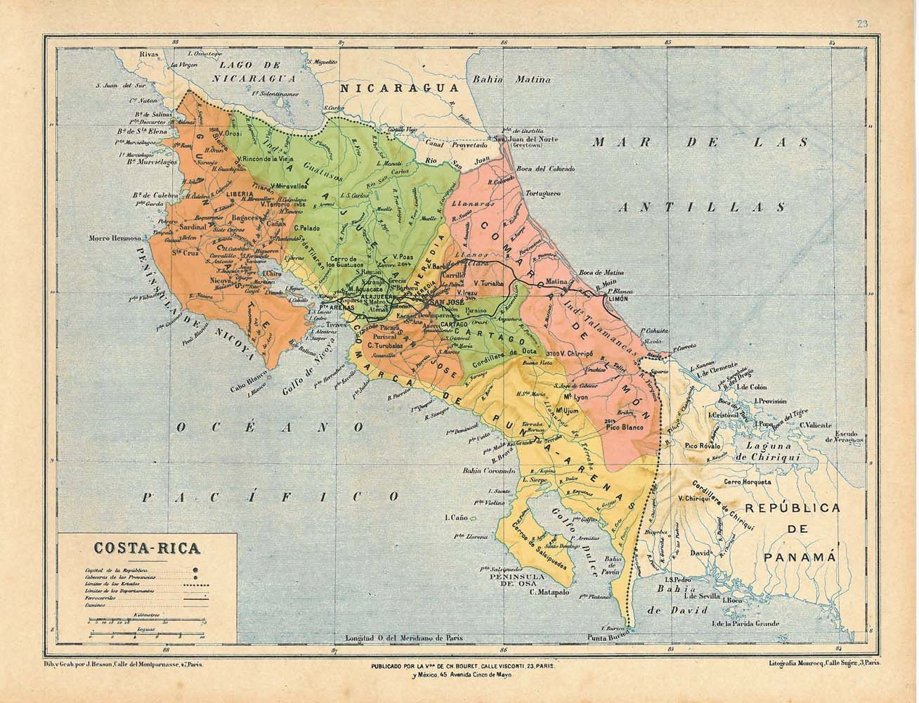 Costa rica map with geographical land forms including surrounding costa rica map with geographical land forms including surrounding bodies of water mountains rivers gumiabroncs Image collections